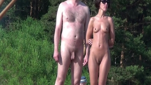Very small tits shaved amateur nudist at the beach