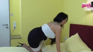 Maid Tina Hot in stockings threesome in hotel