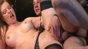 Holly Kiss in stockings pounding