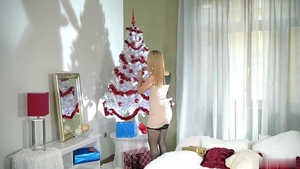 Blonde babe Alana Moon rough doggystyle on Christmas