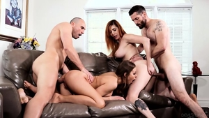 Horny & large tits redhead rough threesome