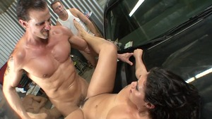 Gonzo cumshot along with big tits brunette Charley Chase
