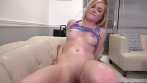 Small tits blonde hair sucking dick