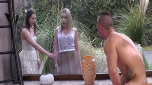 Luna Corazon & Stella Cox dick sucking outdoors