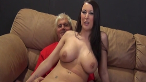 Busty babe Alexis Grace feels up to nailing