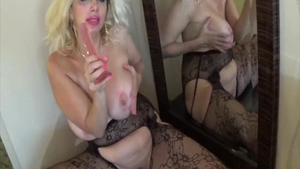 Solo large tits in lingerie cougar masturbating