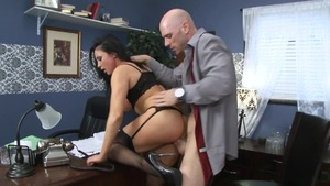 Slamming hard escorted by busty secretary Audrey Bitoni