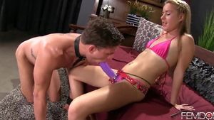 Very small tits domme Lilly Ford and Alexander Gustavo strapon