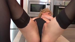 Sexy & wet mature pussy fuck in the kitchen