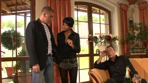 Threesome together with tight in pantyhose in HD