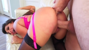 Brunette Karlee Grey in stockings gets ass licked