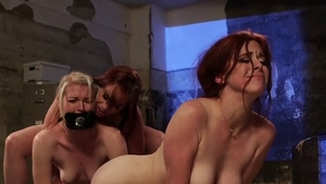 Redhead Bella Rossi together with Ella Nova tied up