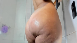 Chubby girl nailed rough in the shower