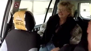 European doggy style in taxi