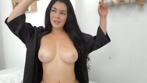 Busty colombian girl oiled masturbating on live cam