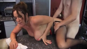 Raw sex escorted by big boobs brunette