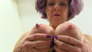 Busty and large boobs MILF Gilly Sampson closeup pussy fuck