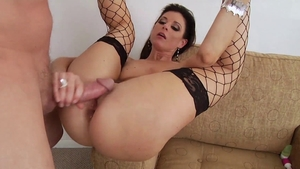 Ass pounding between mature in fishnet in HD