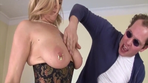 Nailing with pierced blonde haired