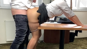 Big butt bitch in a suit fetish creampied in office
