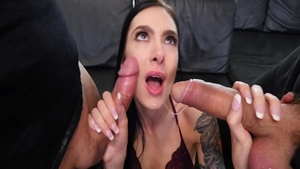 Very sexy Marley Brinx dick sucking gangbang