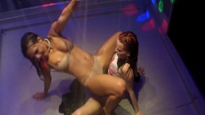 Wet charming supermodel experience handjob at the party