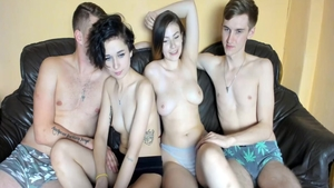 Very sexy babe foursome live on cam