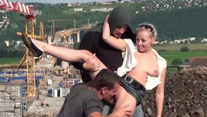 Blonde haired threesome outdoors