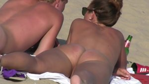 Large tits brunette voyeur hard sex at the beach