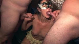 Large tits swinger agrees to orgy HD