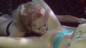 Kinky lesbian pussy licking and underwater in HD