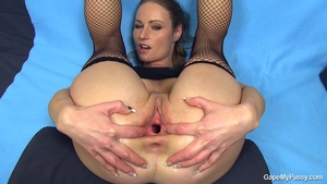 Exotic babe brunette in sexy stockings anal fucking