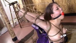 Hogtied next to brunette in tight stockings in HD