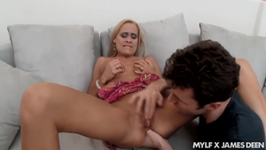 Loud sex in company with sexy blonde haired
