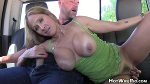 Hot Wife Rio handjob outdoors in HD