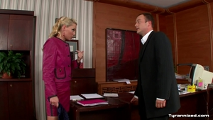 Blonde haired fetish in office