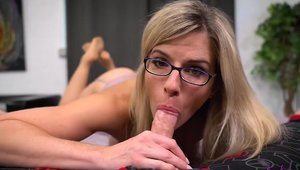 Blonde haired Cory Chase in tight stockings cumshot
