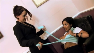Incredible lesbo pussy tribbing and strapon in office in HD