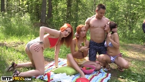Large tits blonde group sex outdoors