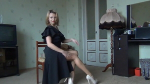 Tight blonde in high heels softcore masturbating