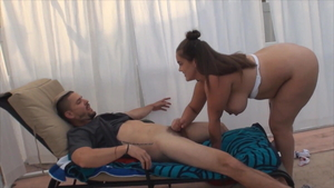 Big tits & pregnant stepsister Katie Cummings handjob outdoors