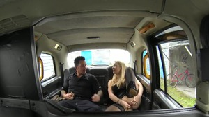 Rebecca More in tight stockings reality blowjob in the car