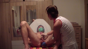 Cumshot in clinic escorted by young petite russian doctor