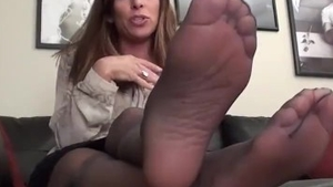 Solo mature feet teasing in stockings