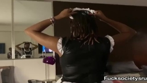 Maid receives sloppy fucking