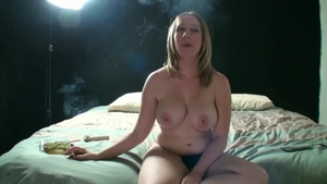 Big boobs Jules Sterling smoking