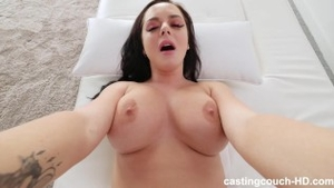 Large boobs girl interracial pounding at the castings