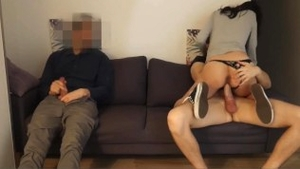 Cuckolding next to european friend wearing panties in HD