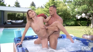 Very hot babe blowjob in jacuzzi