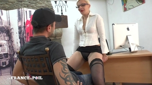 Hawt mistress in stockings rimming in office